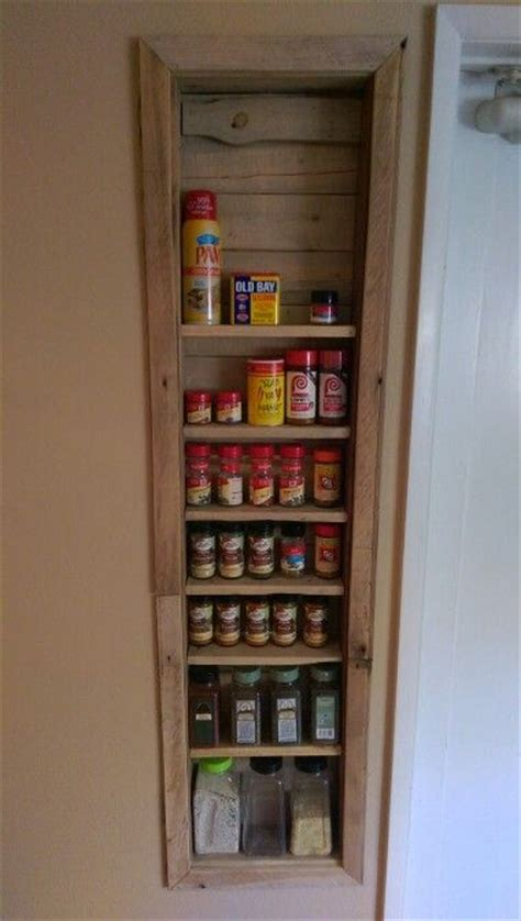 Recessed Spice Rack by Spice Rack Recessed Into Wall With Pallets Craft Ideas