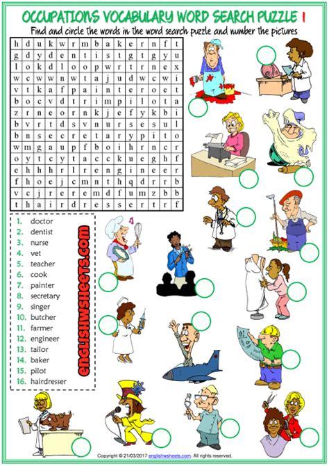 jobs esl printable word search puzzle worksheets  kids