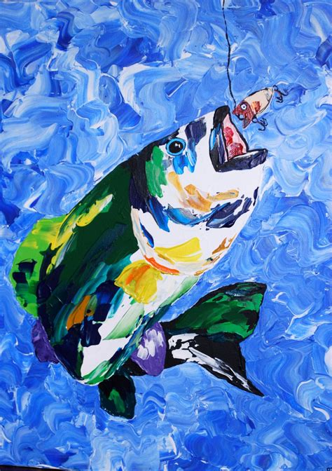 colorful bass fish 16x20andquot acrylic pallet knife painting on