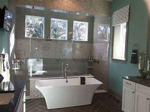 Contemporary, Master, Bathroom, With, High, Ceiling, By, Garth