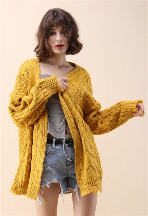 comfy day diary cable knit cardigan  mustard retro