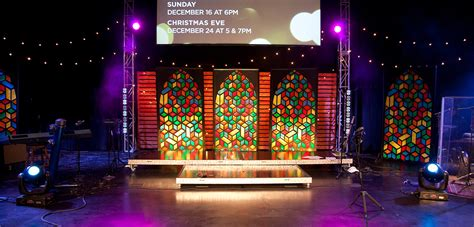 throwback cubist stained glass church stage design ideas