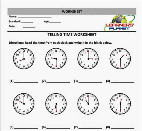 telling time worksheets for grade