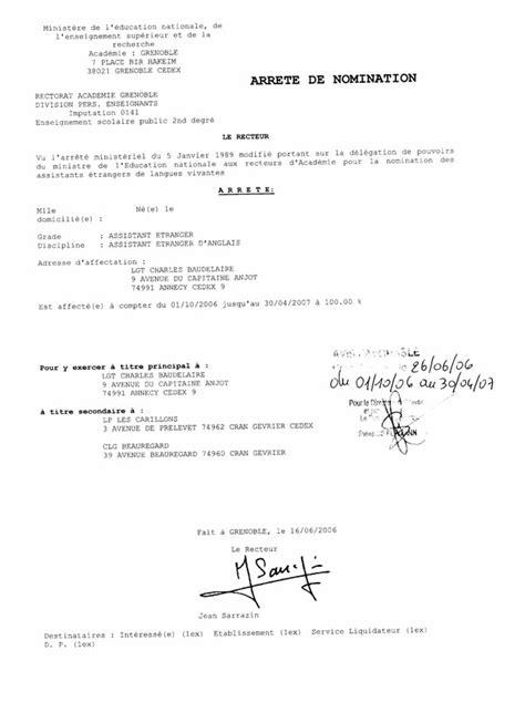 Arrêté de nomination | Assistants d'Espagnol en France