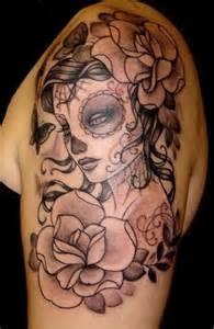 pink mardi gras mask catrina mexicana entre flores tatuajes para