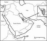Map Arabian Location Qatar Peninsula Saudi Arabia Geographic Coloring Doha Indicating Template Capital sketch template