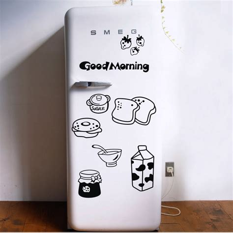 stickers porte cuisine morning breakfast combination wall decals warm family dining room kitchen fridge decorative