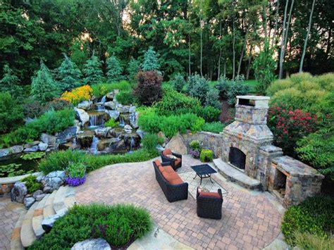 Yard Waterfalls, Beautiful Backyard With Landscape Low