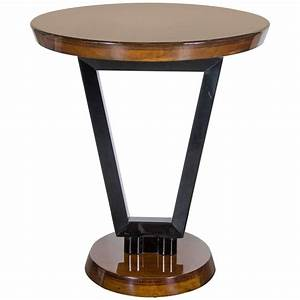 Art, Deco, Streamlined, Occasional, Or, Side, Table, In, Black, Lacquer, And, Walnut, At, 1stdibs