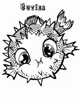 Coloring Fish Puffer Pages Blowfish Porcupine Printable Getcolorings sketch template