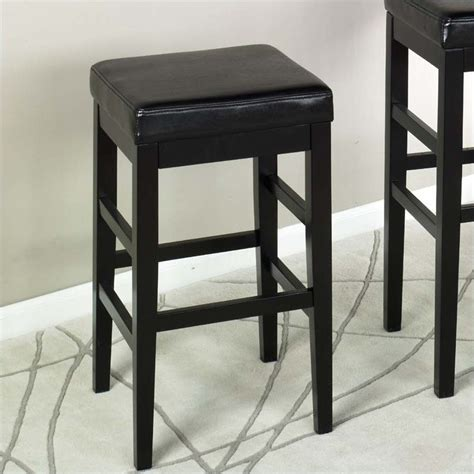 backless leather counter stools black armen living sonata 26 quot high black leather backless 7556