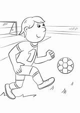 Coloring Football Soccer Pages Player Cartoon Players Printable Cute Drawing Boys sketch template