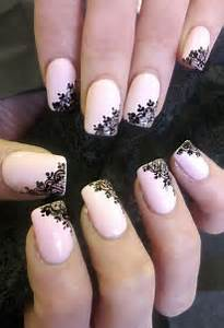 Pink and black flower nail designs beautiful