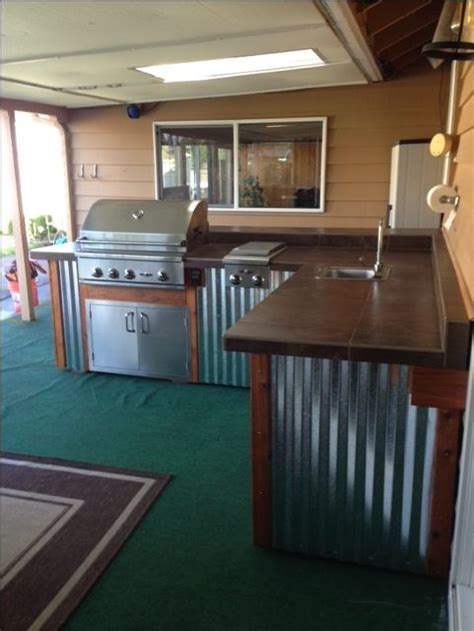 corrugated metal kitchen island complete outdoor kitchen by sunset outdoor living llc 5883