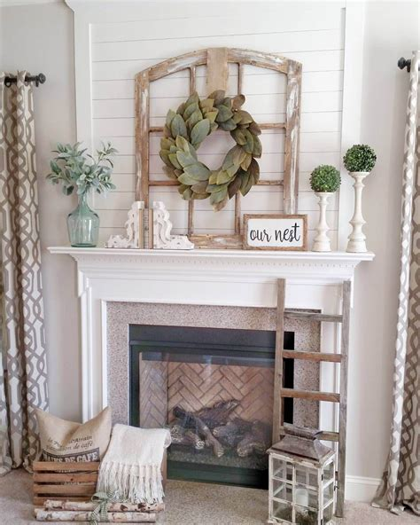 Window Mantle by Window Frame With Bay Leaf Wreath Gas Burning Fireplaces