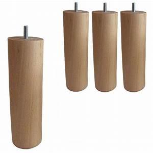 Pied De Lit En Bois : 4 pieds cylindriques verni naturel h 20cm achat vente ~ Premium-room.com Idées de Décoration
