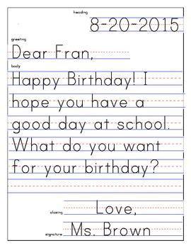 friendly letter template   kindergarten