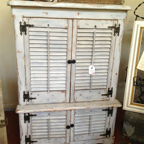 Distressed Vintage Shutter Armoire With Drybrush Paint