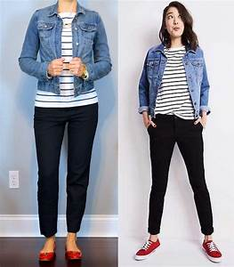 Outfit post jean jacket striped shirt black ankle pants red bow flats