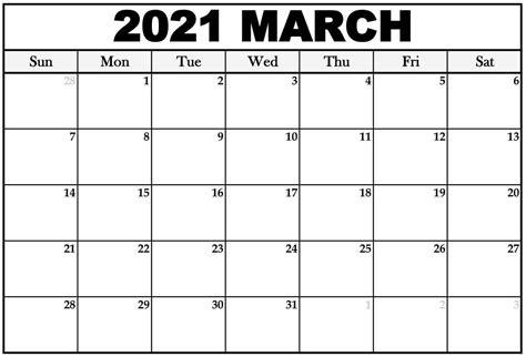 March 2021 Calendar PDF, Word, Excel Printable Template