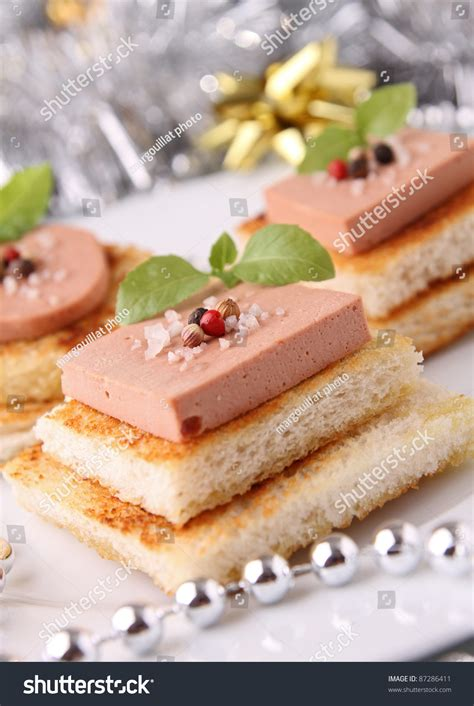 canapé au foie gras canapes bread with foie gras stock photo 87286411