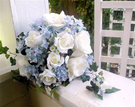 Silk Bridal Bouquet Blue Hydrangeas White Roses Handtied