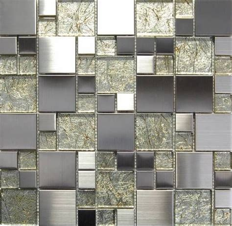metallic foil glass mix stainless steel mosaic tile