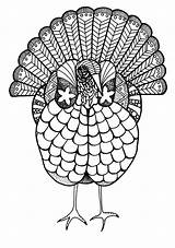 Coloring Adult Turkey Pages Thanksgiving Colorful Colouring Printable Crafts Books Fall Print Let sketch template