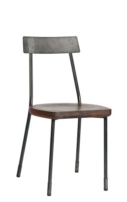 wood seat vintage metal side chair antique finish