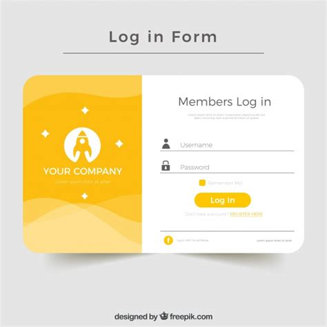 creative yellow login form design vector free