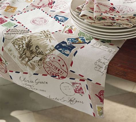 pottery barn christmas table runner letters to santa table runner christmas ideas
