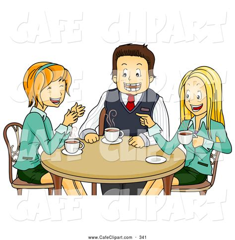 Vector Cartoon Clip Art of a Trio of Happy Colleagues Chatting During a Coffee Break by BNP