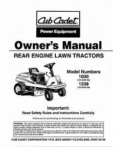 Cub Cadet 1030 Lawn Mower User Manual