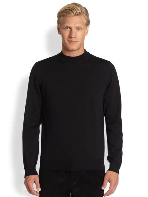 black sweater lyst saks fifth avenue black label wool mock turtleneck