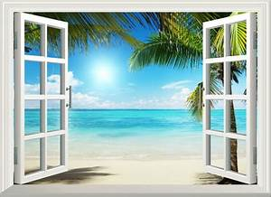 D sunshine beach window view removable wall art stickers