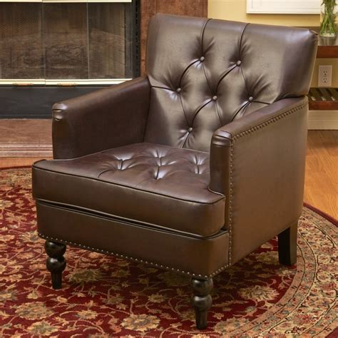 christopher knight home malone brown leather club chair