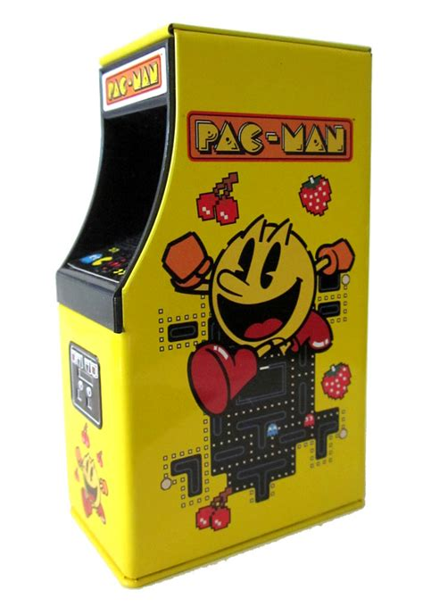 pac man arcade cabinet this metal pac man arcade candy tin has lots of detail in