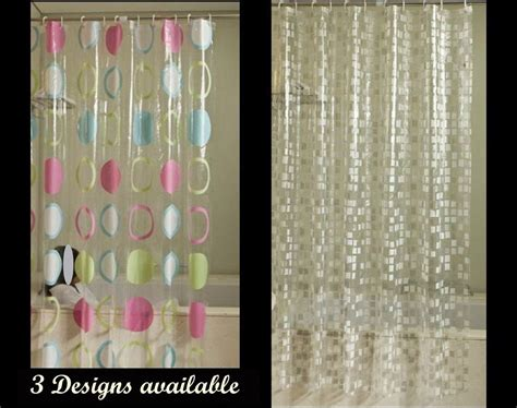 Stylish Clear Shower Curtain 3 Designs Available Free
