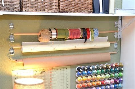 diy wall mounted wrapping paper ribbon holder directions  httpjoshuatrentcomeasy