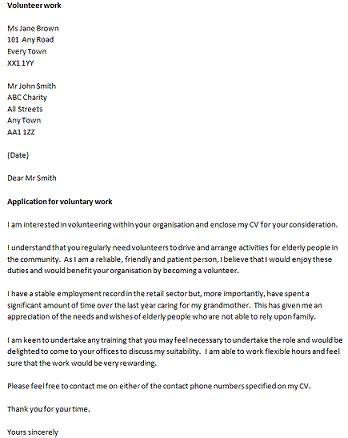 cover letter for volunteer professional cover letter