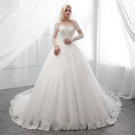 princess wedding dress white ivory ball gown long sleeve sale
