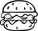 Coloring Pages Bread Hamburger Burger Coloringbookfun sketch template