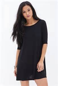 forever 21 knit t shirt dress in black lyst