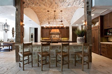 brick barrel vaulted ceiling exterior craftsman with