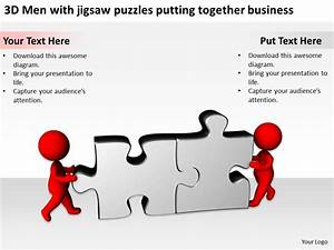 3d Men With Jigsaw Puzzles Putting Together Business Ppt