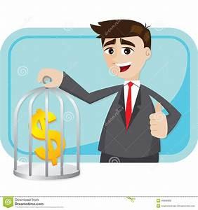 Cartoon Businessman Saving Money In Cage Stock Vector ...