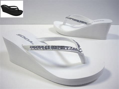 White Platform Wedge Rhinestone Bridal Flip Flops Thongs
