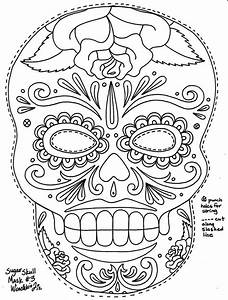 dia de los muertos coloring pages coloring home With day of the dead skull mask template