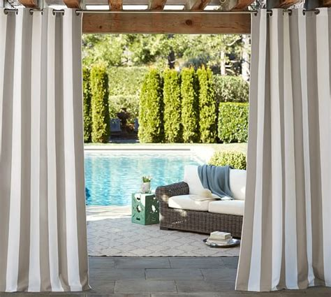 Pottery Barn Sunbrella Outdoor Curtains by Sunbrella 174 Indoor Outdoor Grommet Drape Pottery Barn
