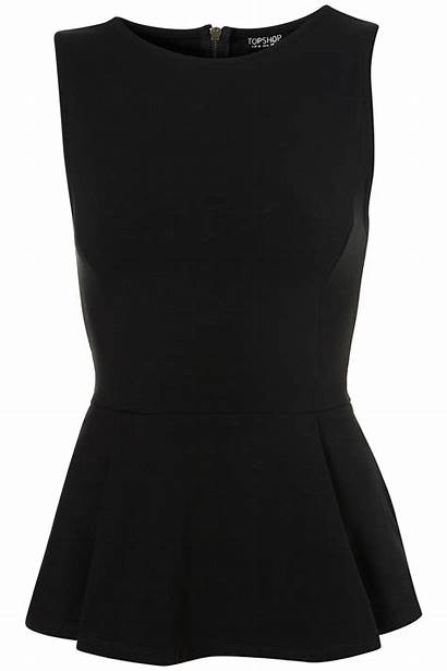 Peplum Topshop Sleeveless Zip Tops Shirt Lyst